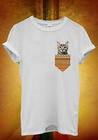Cat Kitten Pocket Meow Hipster Men Women Unisex T Shirt Tank Top Vest 1062