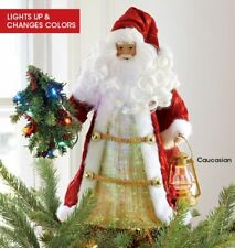 New Christmas Multi-colored Fiber Optic Saint Nicholas Tree Topper By Avon