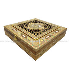 Handmade Engraved Syrian Inlaid Mosaic Wooden Jewellery Trinket Box 30x30x7cm