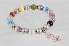 COSTUME MULTI COLOR TIGERS EYE STONES W/ MERMAID PINK STONES BRACELET 6899