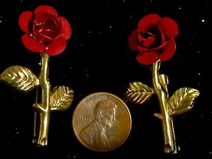 Set of Two Red Rose Gold Stems Brooches