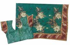 "Om Vintage Indian  Art Silk,Net Hand Beaded Green Saree,Blouse Bust 32"" ZA12000"