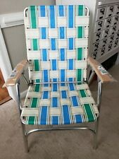 Vintage Aluminum Wood Webbed Folding Beach Lawn Chair Mid Century  Free shipping