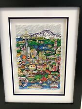"Charles Fazzino 3D Artwork "" Hello Seattle "" Signed & Numbered Framed"