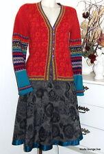 Ivko knitwear Strick-Jacke Lammwolle rot Floral Pattern Cardigan red 54511