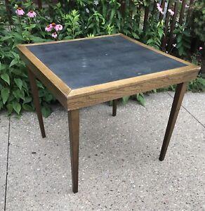 """VTG MCM Folding Card Table Solid Wood Frame 29"""" Square Vinyl Top Oak or Walnut ?"""