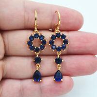18K Yellow Gold Filled Lady Mystical Navy Blue Zircon Long Dangle Earrings Party