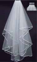 2-Layer white Ivory Elbow Length Satin Edge Wedding Bridal Veil with Comb 70cm