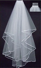 2-Layer white Ivory Elbow Length Satin Edge Wedding Bridal Veil with Comb 70cm