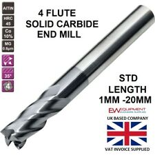 SOLID CARBIDE END MILL 4 FLUTE 1 MM - 20 MM STANDARD LENGTH ALTiN COATED