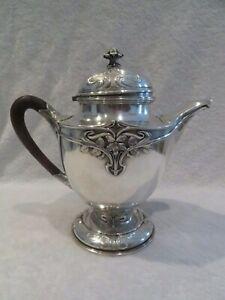 Gorgeous & rare 1900 french sterling silver large tea pot art nouveau 880gr 31oz