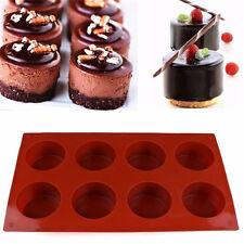 8 Agujeros Forma Redonda 3D Bandeja Silicona Molde Chocolate Torta
