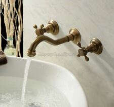 Wall Mounted Antique Brass Bathroom Basin Faucet Cross Handles Mixer Tap ytf050