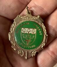 Vintage Brass Waltham Forest Festival Souvenir Medallion - Green Inset Decal