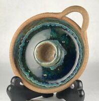 Art Studio Pottery Chamber Stick Candle Holder Deep Blue Green Glaze