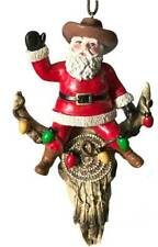 Cowboy Santa Claus on Longhorn Christmas Ornament Decornation fun gift (style b)