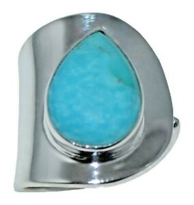 Genuine Turquoise Adjustable Size Ring 925 Sterling SILVER Gemstone Jewelry Blue