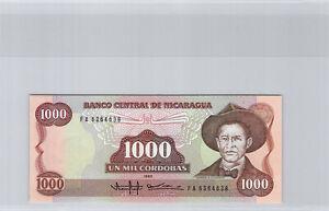 Nicaragua 1000 Cordobas 1985 N° Fa 6364638 Pick 156a