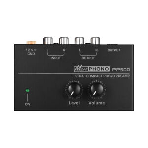 Ultra-compact Phono Preamp Preamplifier with Level & Volume Controls RCA W8G6