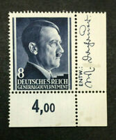 Authentic Germany WWII Stamp MNH 8 GR / Occupied Poland World War 2 Era Side Cor