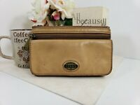Fossil Tan Brown Leather Snap Wallet with Zip Pockets