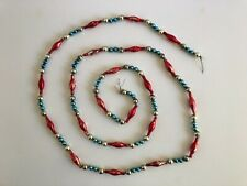 """Vintage July 4Th Patriotic 75"""" (6 Ft. 3 In.) Red, Silver and Blue Glass Garland!"""