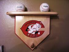 Baseballs Cincinnati Reds home plate display shelf for 3 balls 2 bats