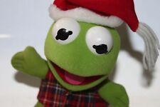 Vintage Muppets Kermit the Frog Plush Stuffed Animal Sesame Street Christmas Hat