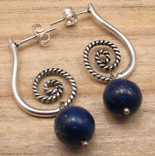 LAPIS LAZULI Beads ! STUDS Earrings ! 925 Silver Plated Jewelry Women Fashion