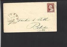 CHICAGO, ILLINOIS COVER. BLK CIRCULAR GRID CL. RED CDS.  COOK CO. 1831 VF.