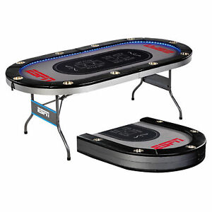 Poker Table ESPN 10 Player Premium Stable Foldable In-Laid Built LED Lights Gray