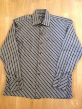 """MENS CECIL GEE LONG SLEEVED BLACK & GREY STRIPED SHIRT SIZE M COLLAR 17"""" WORN"""