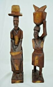 """Vintage - Hand Carved Wooden African Figures Pair (Man & Woman) 13.5"""" Tall"""