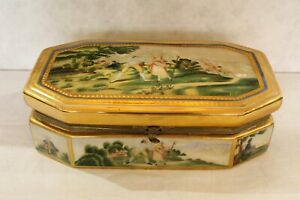 Vintage Hand Painted Porcelain Trinket Box with 24k Gold Leaf