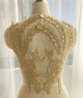1 Pair Trim Embroidery Lace Sewing  Applique Motif DIY Wedding Bridal Crafts
