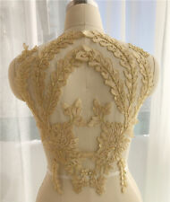 1 Pair Trim Lace Embroidery Applique Sewing Motif DIY Wedding Bridal Crafts