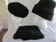 Vintage Victorian Black Lamb's wool Pillbox Hat. Pullover cap w/cuff & Muff