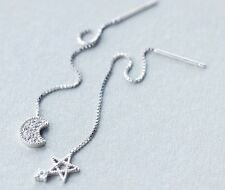 925 Sterling Silver Ear Threads Star and Moon
