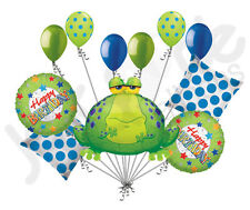 11 pc Bullfrog Happy Birthday Balloon Bouquet Decoration Amphibian Jungle Frog