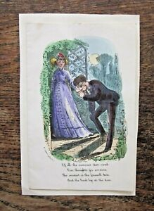 Victorian Valentine Card R Conton Poem Handcoloured Print Engraving Goodbye Kiss