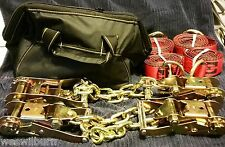 4 ratchet w/chain 4 Red lasso straps +HD Case  wreckerr ollback tow truck