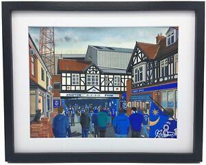Portsmouth FC Fratton Park. High Quality Framed Art Print. Approx A4.