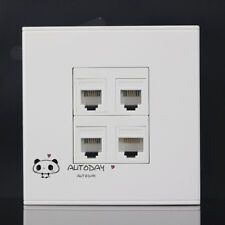 Wall Socket 4 Port 3 Network CAT5 RJ45 & RJ11 Telephone Outlet Panel Faceplate
