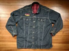 90s TOMMY HILFIGER MOTORCYCLE Mens Jacket Reversible VTG BOX LOGO L Denim Blue