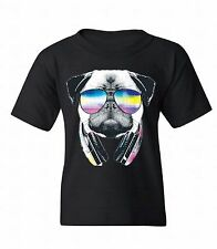 Pug Sunglasses Headphones Youth T-shirt Dog Head Music Party Funny Gift For Kids