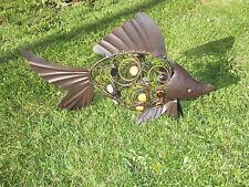 Gartenfigur Fisch Dekoration Koy Karpfen Goldfische Goldorfe Metall Shabby Haus