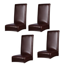 4Pc Dining Room Stretch Leather Chair Protectors Waterproof Seat Cover Brown