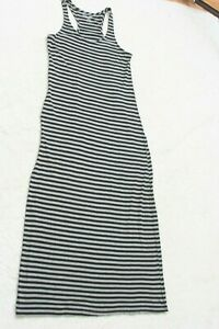Large Just Love Gray Black Dress Cotton Blend Sleeveless Striped Womans Womens