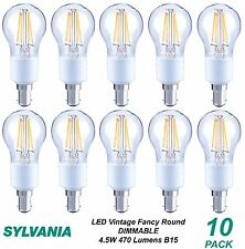 10 x LED 4W Dimmable Vintage Round Filament Light Globes / Bulbs B15 Bayonet
