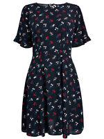 Next Size 6,8,10,12,14,16 Navy Floral Print Short Frill Sleeve Dress ( b22)